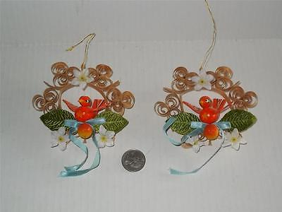Vintage Christmas Ornaments Curly Wood Scroll Orange Bird Made in Taiwan