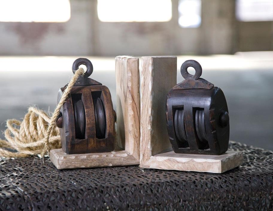 Mason Wood Pulley Bookends Nautical Decor Beach House Lake Home Gift Or Decor