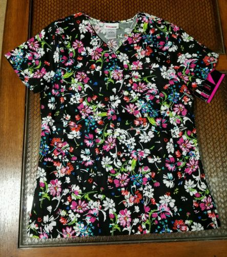 SCRUB TOP MEDICAL UNIFORM V-NECK SZ: EXTRA SMALL NEW SCRUBSTAR AUTUMN FLORAL