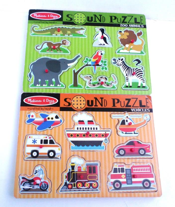 Melissa & Doug Vehicles and Zoo Animals Sound Puzzles 2 Wooden Puzzles