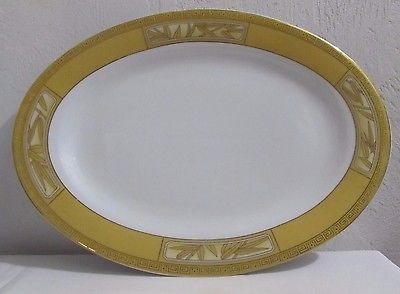 FULLAM FINE PORCELAIN CHINA WARE GOLD TRIM LARGE OVAL PLATTER ''14 x 10 ''DISH