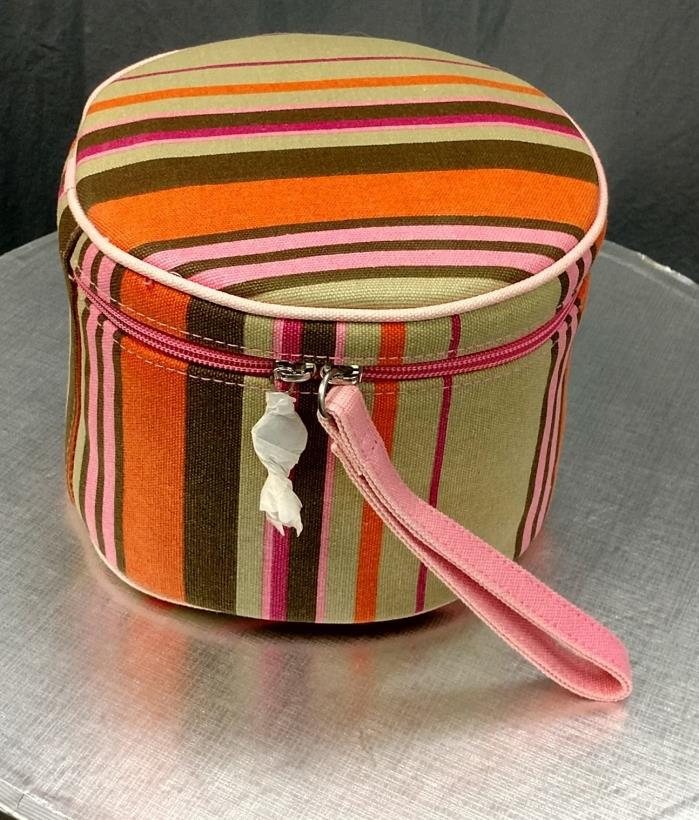 Saks Fifth Ave. Canvas Striped Cosmetic Bag with zipper and all inside items (NE