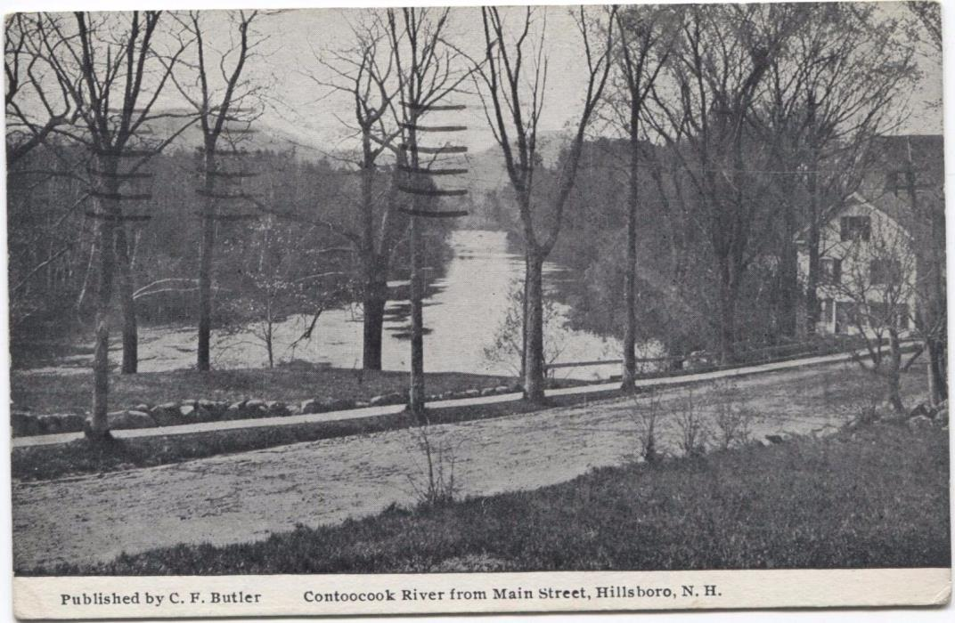 Contoocook River from Main Street Hillsboro New Hampshire Vintage Postcard L89