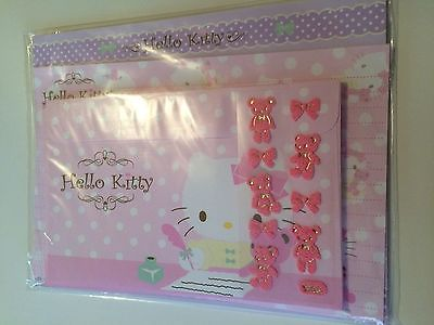 2007 Hello Kitty with Pink Bear Writing Stationery Letter Set