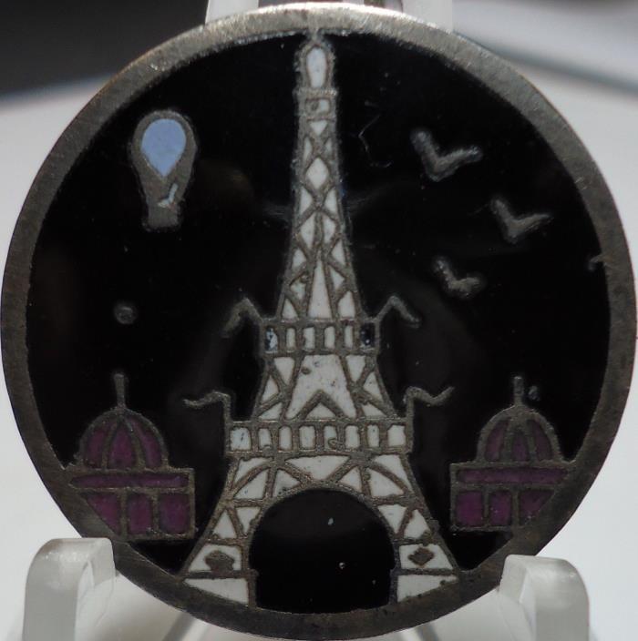 ANTIQUE RARE UNIQUE FRENCH ENAMEL EIFFEL TOWER HOT AIR BALLOON PICTURE BUTTON 1