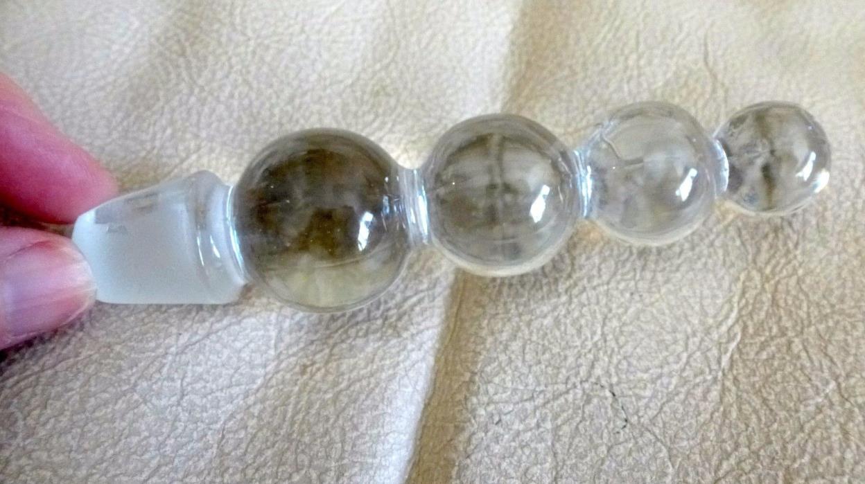 Vintage Glass Decanter Bottle STOPPER Topiary Shape 4 1/2