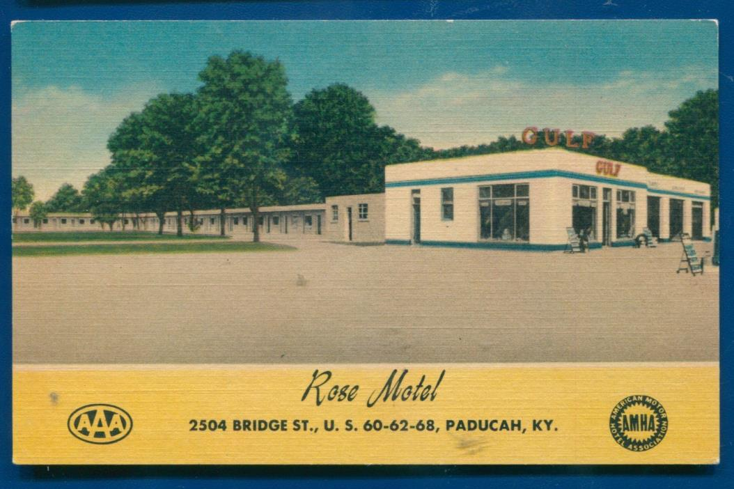Rose Motel Paducah Kentucky gulf gas station AAA linen postcard