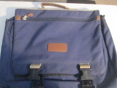 Blue canvas shoulder bag w/carry handle & shoulder strap several compartments