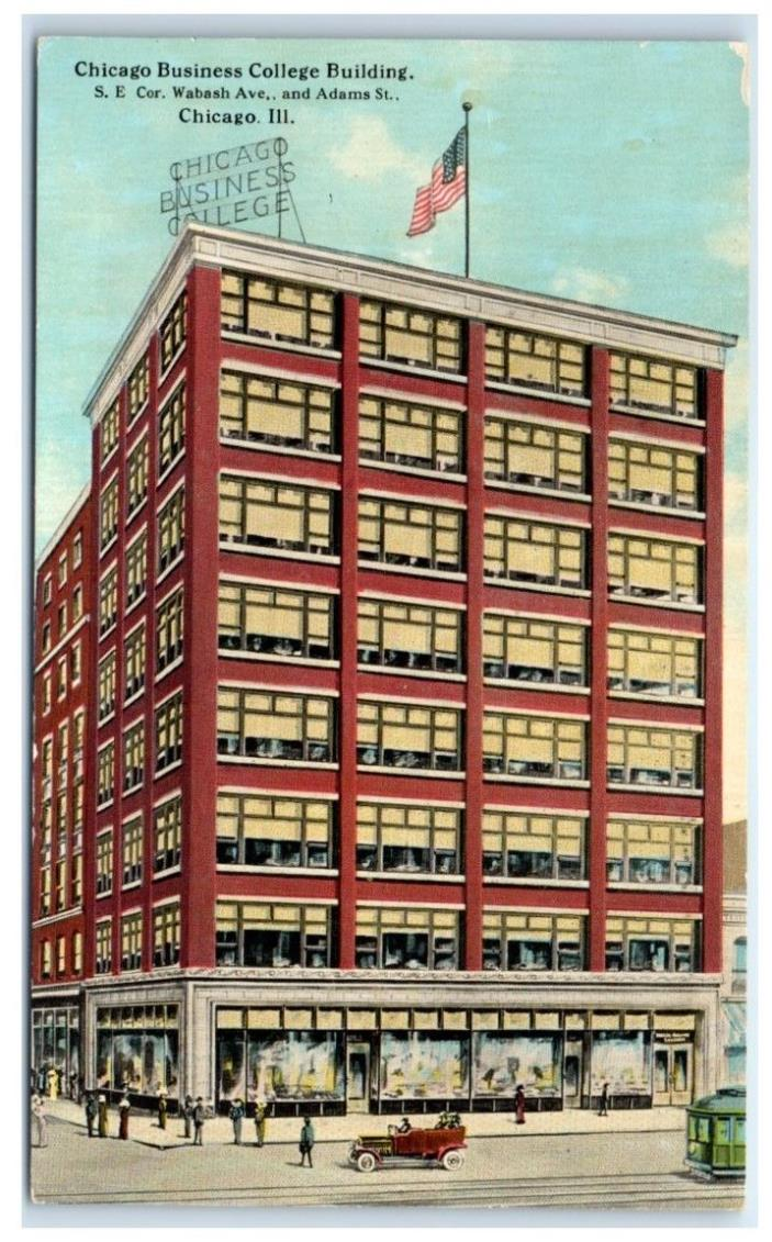 Early 1900s Chicago Business College Building, Chicago, IL Postcard