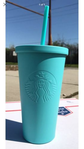 NEW 2017 STARBUCKS COLD CUP MINT TIFFANY BLUE MATTE STAINLESS STEEL 16 fl oz