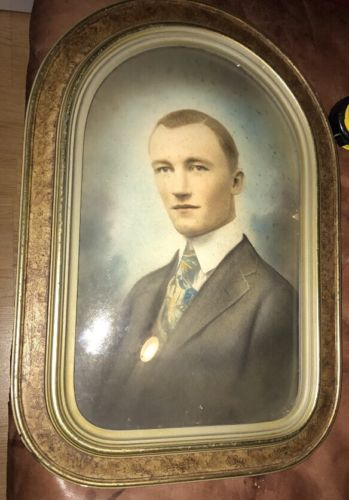 Antique Death Memorial Photo Convex Glass Portrait 13.5x19.5
