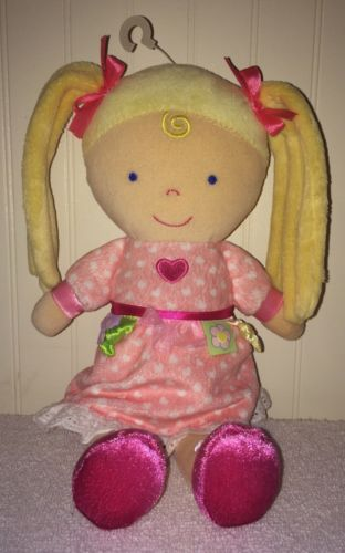 Kids Preferred Blond Baby Doll Plush Pink Dress Hearts Pigtails Blue Eyes 2010