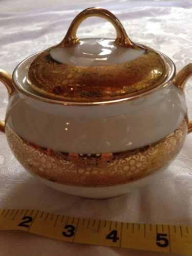 Royal Bavarian China Sugar Bowl With Lid Real Gold Trim Vintage Antique