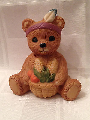 HOMCO THANKSGIVING INDIAN BEAR/ TEDDY PORCELAIN FIGURINE 1413