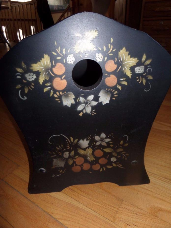 HITCHCOCK? STYLE MAGAZINE/NEWSPAPER RACK/HOLDER/WOOD/STENCIL/BLACK/GOLD ACCENTS