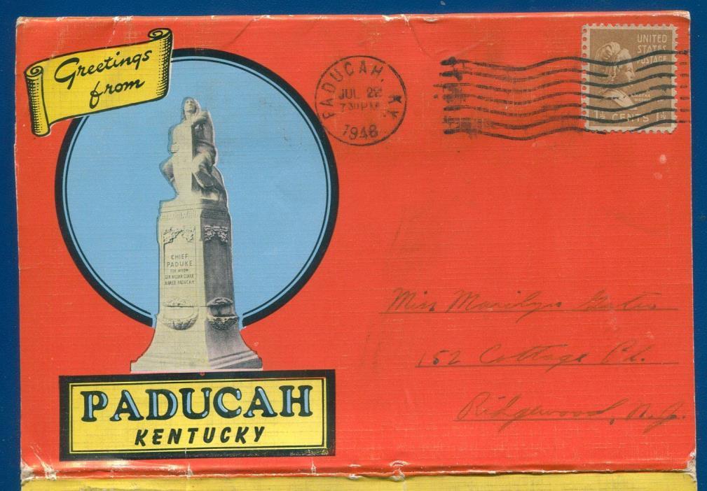 Paducah Kentucky ky linen 1940s vintage old postcard folder