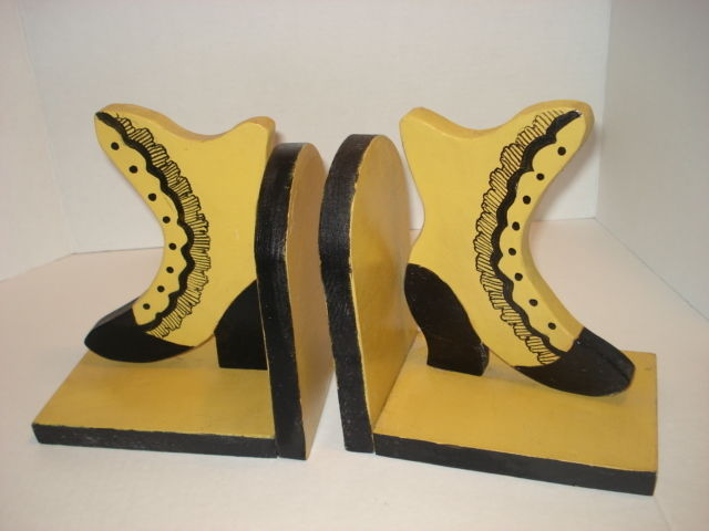 Vintage Handmade Yellow and Black Wooden Bookends Vintage Shoe Design