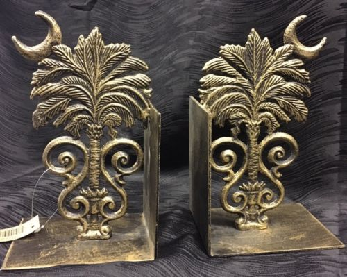 South Carolina Palmetto Tree Crescent Moon State Bookends Metal Heavy Gorgeous!