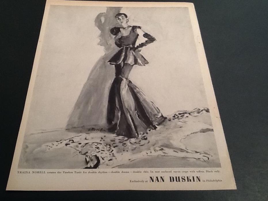 1940s NAN DUSKIN Philadelphi Gown Fashion ART Vintage mag print AD LOt of 2