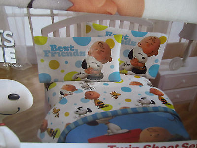 The Peanuts Movie  Snoopy & Charlie BrownTwin Sheet Set New