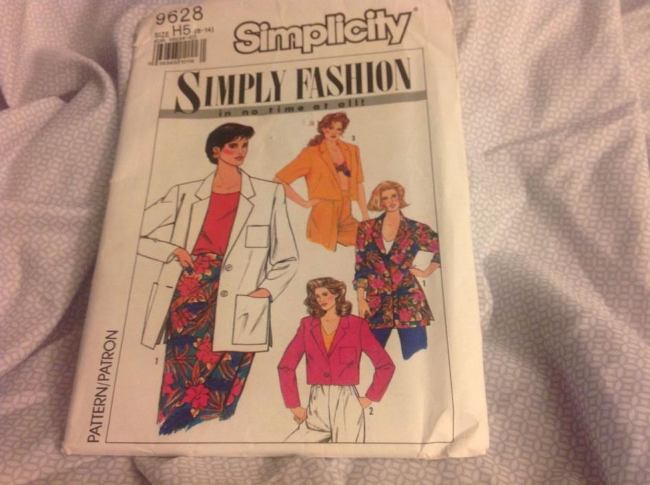 Simplicity 9628 ~ misses size:  H5 (6-14).  Unlined jacket in two lengths.