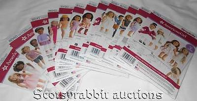 NEW HUGE Set of Simplicity AMERICAN GIRL DOLL Sewing Patterns 12 in all 18