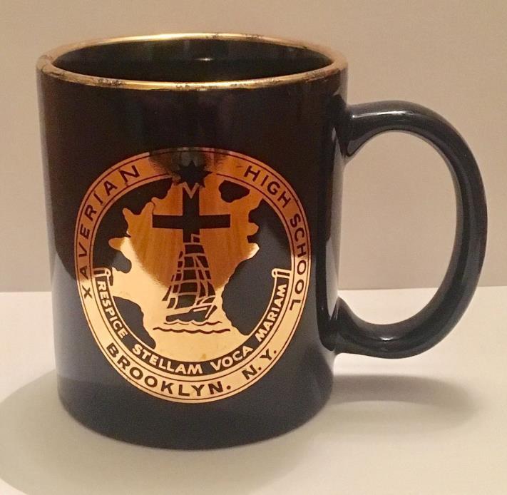 Vintage Xaverian High School Brooklyn NY Cobalt Blue W/ Gold Graphics Logo Mug