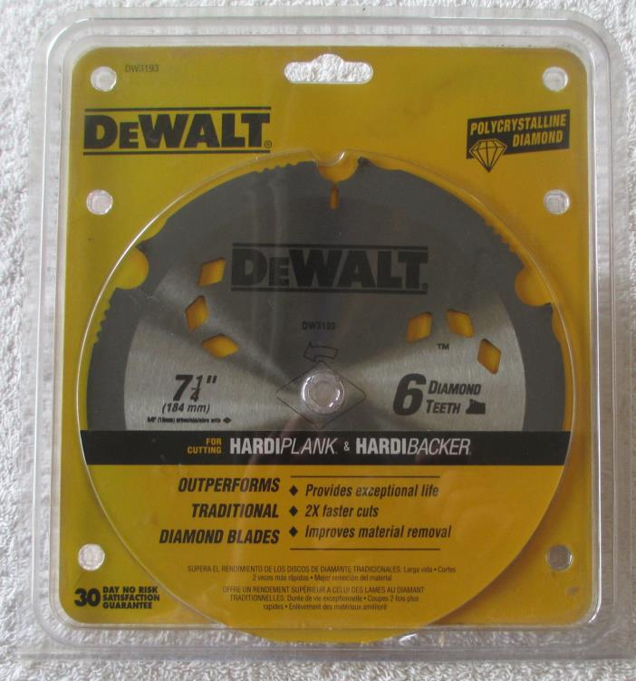 DeWalt DW3193 Polycrystalline Diamond Saw Blade 6 Tooth 7.25 Inch