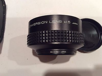 Kenko VTR TELE CONVERSION LENS x1.5 with 55 to 52 Adapter Ring with Case & Box