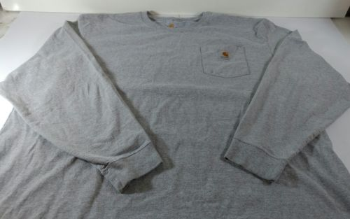 CARHARTT K126 MEN'S WORKWEAR Long Sleeve T-shirt With Pocket Gray Size 3XL