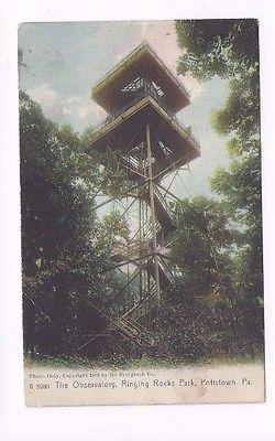 PA Pottstown Pennsylvania 1909 udb Post Card Ringing Rocks Park Observatory