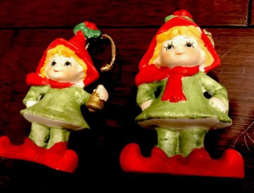Vintage Set of 2 Lefton Elf Hanging Christmas Tree Ornaments 31/2
