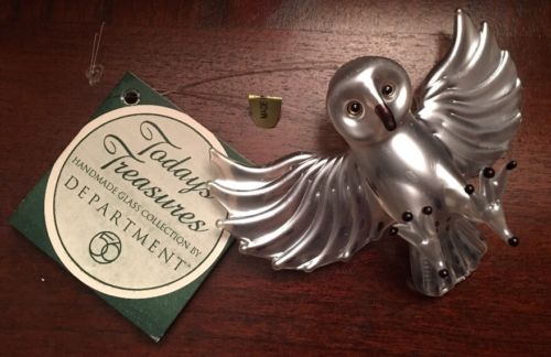 NWT Department 56 Stylized Glass Owl Christmas Tree Ornament Today's Treasures