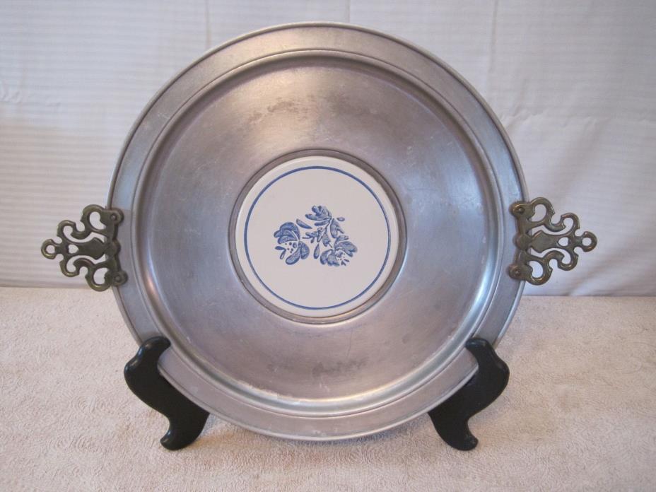 Pfaltzgraff Yorktown Blue Floral Tile Round Metal Pewter Serving Tray Platter