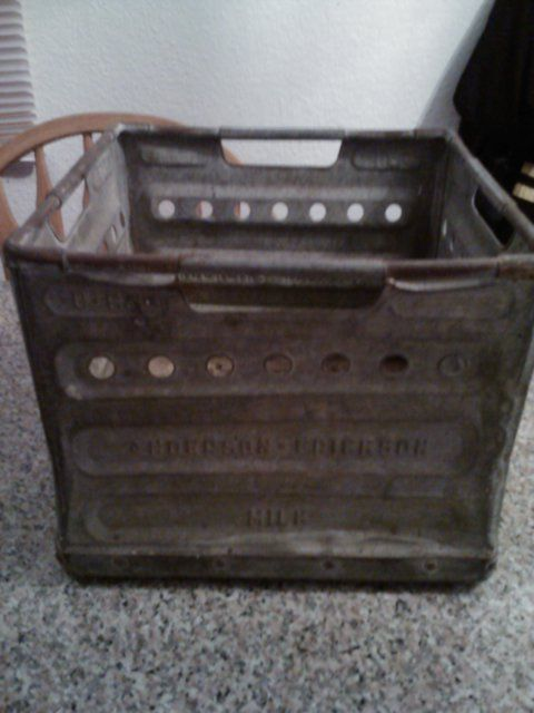 Vintage '66 Anderson-Erickson Metal Milk Carrying Crate Zink Kote DesMoines Iowa