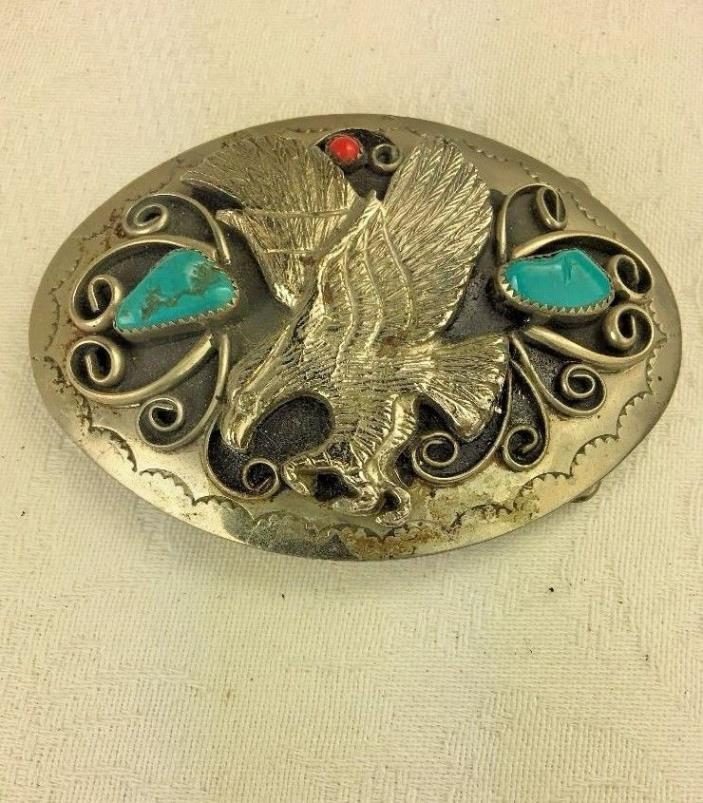 SOUTHWESTERN SILVER OVAL BELT BUCKLE EAGLE RED BLUE TURQUOISE NUGGETS 81.5g