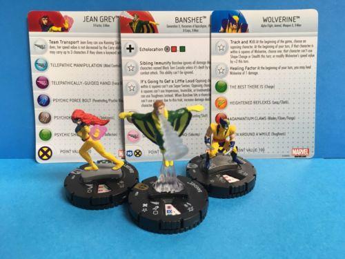 Heroclix Marvel X-men Super Rare Banshee 051 Jean Grey 209 Wolverine 001