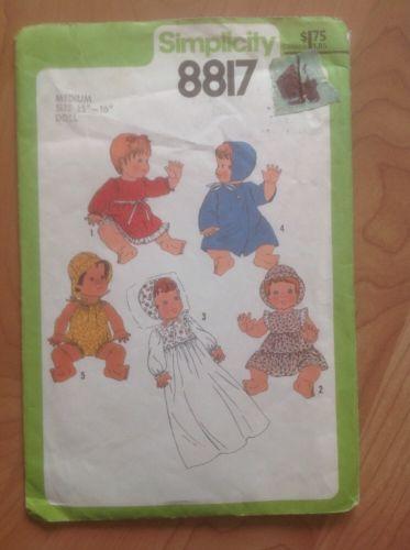 Vintage Simplicity Medium Size Doll Pattern Size 15