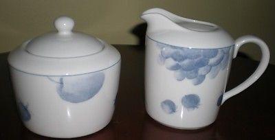 Epoch Blue Fruits E829 – Creamer & Sugar Bowl w/Lid – 3 pieces