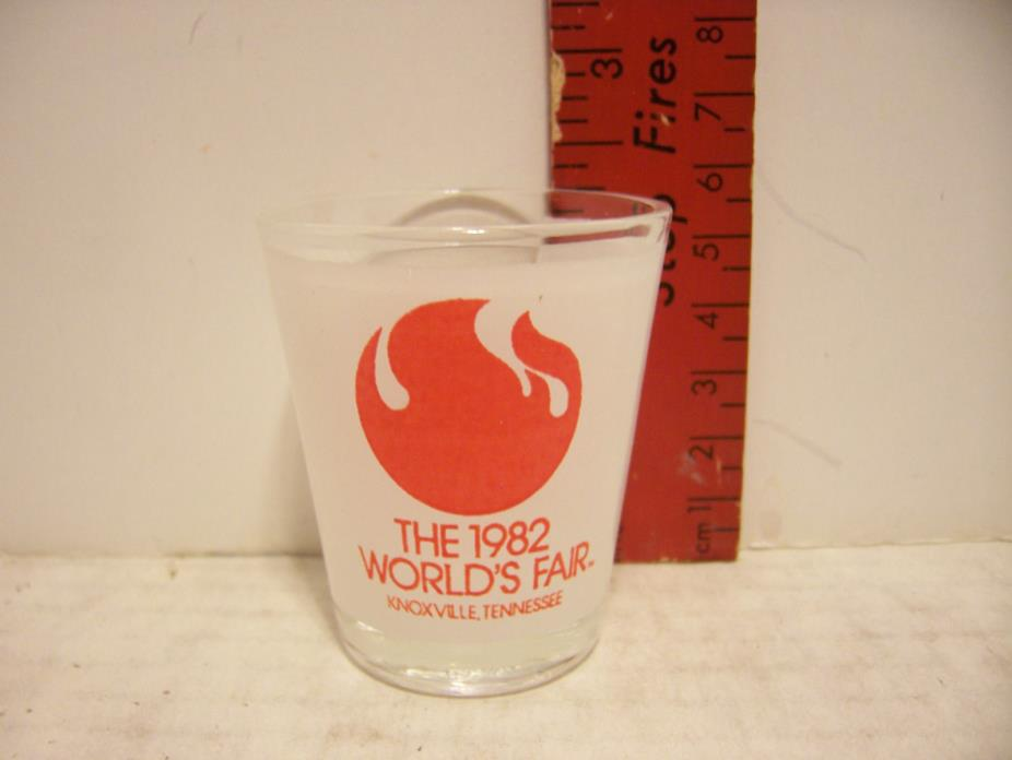 SHOT GLASS THE 1982 WORLD'S FAIR KNOXVILLE, TENNESSEE - FROSTED GLASS