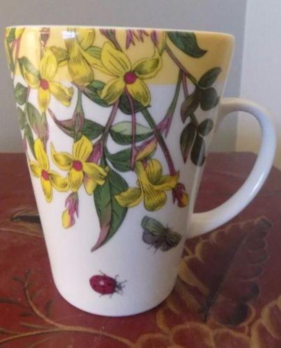Portmeirion Botanic Garden Terrace 14 oz coffee mug new yellow band Jasmine