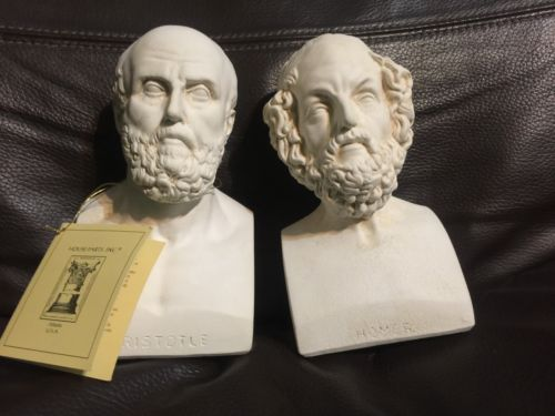 Aristotle Homer Bookends Greek Philosophers White Busts House Parts Inc USA