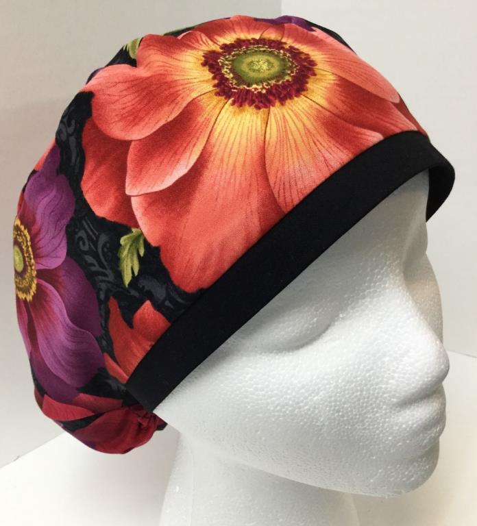 Beautiful Floral  Large Medical Slim Lid OR Scrub Cap Surgery Hat