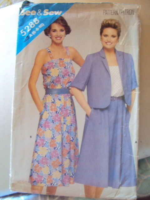 Butterick Miss Dress & Jacket Pattern 5288 UNCUT 6-10 Vintage Free Shipping