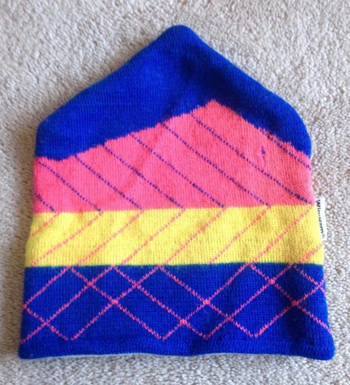Vintage Wigwam Children's Winter Wool Ski HAT CAP, Kids 1 Size Blue Pink Yellow