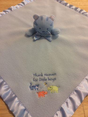 Carters Tykes Tiger Plush Blue Lovey Fleece Blanket Thank Heaven For Little Boys