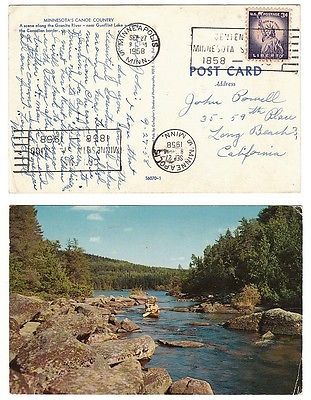 Granite River Minnesota POSTCARD Canoe Country Gunflint Lake 1958 postmark