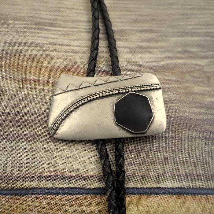 Black And Silver Abstract Bolo Tie Country Western Rockabilly Urban Cowboy Neck