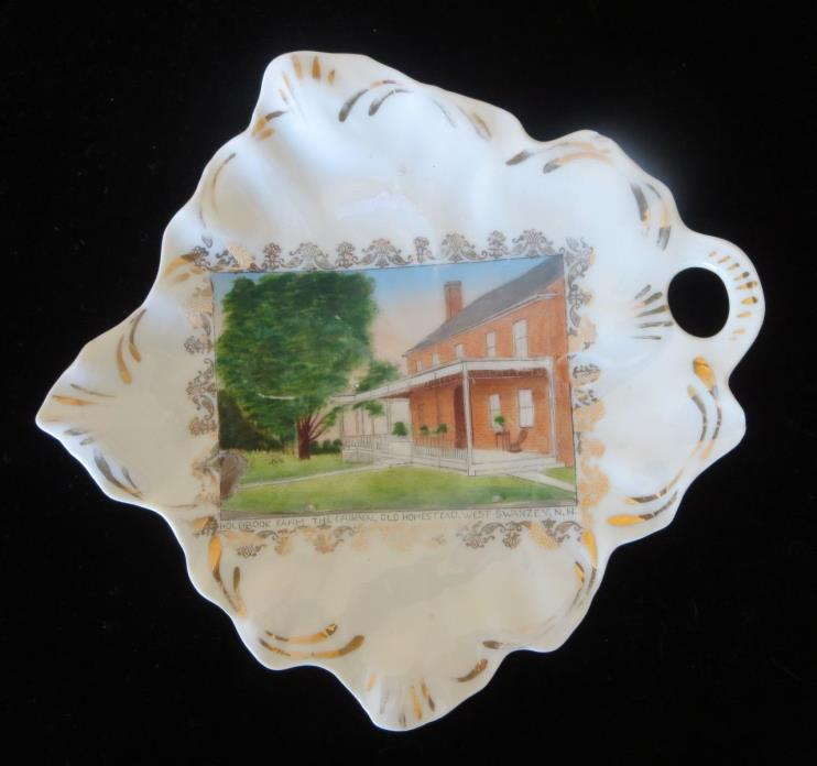 Holbrook Farm Souvenir Plate West Swanzey, NH Wheelock Austria Nut Dish Nappy