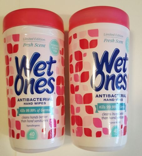 2 Pack Limited Edition Fresh Scent WET ONES Antibacterial Wipes 80 Wipes Total
